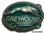 Greyhound Racing Dog Belt Buckle + display stand. Code BJ4